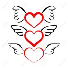 Corazón con alas ilustración colección de vectores de dibujos animados