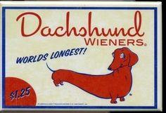 Dachshund hotdog wiener label magnet dog art by rubenacker on Etsy, (I love this guy's Etsy magnets...we have two!)