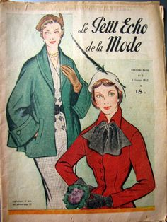 "1950s Magazine Cover. ""Le Petit Echo de la Mode"" 1952 N° 5"