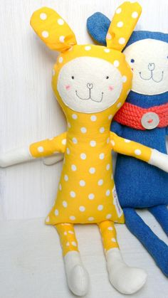 Bunny Soft Toy Rag Doll Polka dot bunny by MiniwerkaToys on Etsy