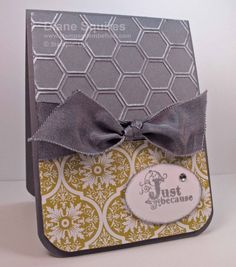 Love the new Honeycomb Embossing Folder.  This is also my favorite paper from the Sale-a-bration flyer.  Free with a $50 order.