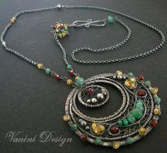 Sterling SilverSapphiresEmerald and Garnet pendant by vanini