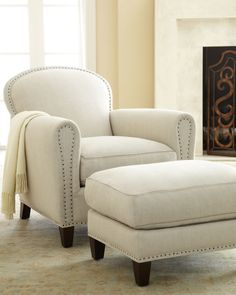 "Horchow  Lee Industries ""Linda"" Linen Chair & Ottoman"