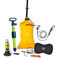 The Deluxe Safety Kit from Seattle Sports offers the full range of safety gear that paddlers need: a bilge pump, a sponge, a paddle float, a paddle leash, a safety whistle and the Hydrostar Multistrobe flashlight. Safety Kit, Boat Safety, Camping And Hiking, Hiking Gear, Boat Storage, Storage Rack, Scuba Gear, Thing 1, Boater