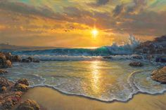 Peaceful Easy Feeling - Mark Keathley Landscape Paintings, Landscapes, Painting For Kids, Sunsets, Celestial, Easy, Outdoor, Beaches, Deer