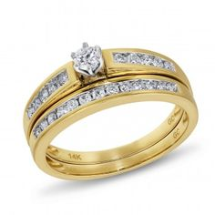 Angelina, 14K Yellow Gold Diamond Bridal Set, 1/2 ctw. - by Samuels Jewelers