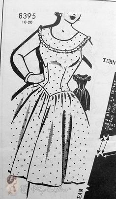 1950s Lovely Full Skirted Dress Pattern Figure Molding Bodice Patt-O-Rama 8395 Bust 30