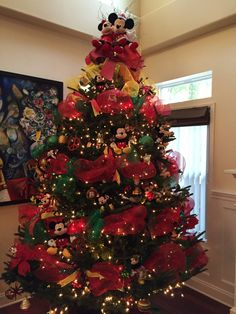 Mickey Tree Mickey Mouse Christmas Tree, Disney Christmas Decorations, Ribbon On Christmas Tree, Cool Christmas Trees, Christmas Tree Themes, Xmas Tree, Christmas Time, Christmas Crafts, Tree Tree