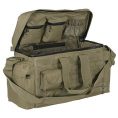 This deluxe range bag holds ammo, handguns and all your range accessories. Measures Includes adjustable dividers, plenty of pockets and pouches, MOLLE webbing and is made of ballistic weave material. Airsoft, Range Bag, Tactical Bag, Tac Gear, Tactical Clothing, Bug Out Bag, Cool Gear, Survival Gear, Special Forces