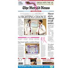 The front page of The Herald News for Wednesday, Oct. 1, 2014. #fallriver