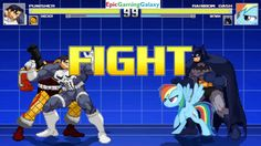 Batman And Rainbow Dash VS The Punisher And Shocker In A MUGEN Match / Battle / Fight This video showcases Gameplay of Rainbow Dash From The My Little Pony Friendship Is Magic Series And Batman The Superhero VS The Punisher And Shocker The Supervillain In A MUGEN Match / Battle / Fight