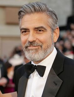 OH YES George close up looking great with salt and pepper look.  Best Dressed Men Oscars 2013 Academy Awards - Esquire