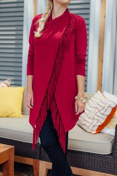 Cozy and cute is easy with this piece! How would you style this fringe wrap?