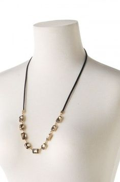 Reese Sparkle Necklace by Stella & Dot, available on my personal website July 26th!  Genuine leather with vintage gold and neutral sparkle. Reverse this necklace at varying lengths to fit your look.