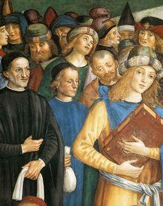 PINTURICCHIO,  Italian Early Renaissance (ca.1454-1513)_Baglioni Chapel in Spello-Christ among the Doctors 1501 detail