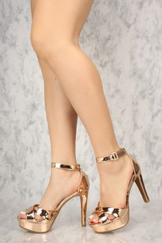 f30fb078e761 Sexy Rose Gold Open Toe Platform High Heels Patent