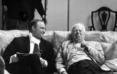 Marlon Brando having a laugh with director Charlie Chaplin during a break in the filming of A Countess From Hong Kong, 1967.