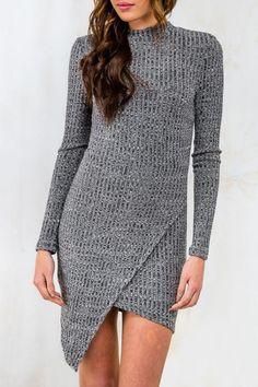 Gray Round Neck Long Sleeve Sweater Dress