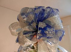 Large Christmas Tree topper bow made of a by creativelycarole, $30.00