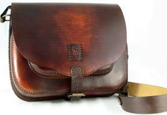 Satchel Leather Bag - brown-red