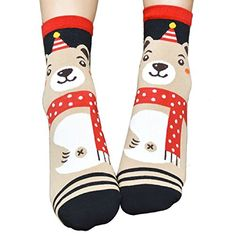 LAPAYA Womens Christmas Crew Sock Casual Knit Cartoon Printed Soft Holiday sock Khaki One Size fit socks 911shoes 68 * More info could be found at the image url.