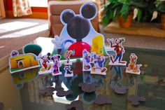 Mickey's clubhouse & characters from Disney Jr's website, printed on cardstock (& painstakingly cut out by hand by me :)