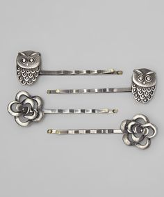Loving this Antique Silver Owl & Flower Bobby Pin Set on #zulily! #zulilyfinds