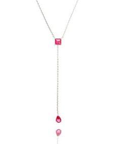 colar da moda gravatinha com zirconia rubi semi joias finas