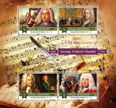 Post stamp Maldives MLD a anniversary of George Frideric Handel Maldives, Stamps, Anniversary, Laughing, The Maldives, Seals, Postage Stamps