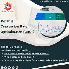 Do you know what is Conversion Rate Optimization??? It is a process through which we can boost the percentage of users/visitors of our website who take the specific action. To attain a high percentage, one needs to go through a process which is mentioned above. Visit us for more information related to Digital Marketing. #conversionrate #optimization #digitalmarketing #marketing #digitalcreaters #socialmediamarketing #socialmedia #webdesign #branding #digitalcreaters #CRO #onlinemarketing Best Digital Marketing Company, Online Marketing, Social Media Marketing, Do You Know What, Video Editing, Web Development, Web Design, Action, Branding