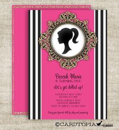 Barbie Silhouette Printable Birthday Invitation by LollipopInk