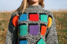 Vintage 80s GITANO Color Block Sweater  Women by RubyChicBoutique, $30.00