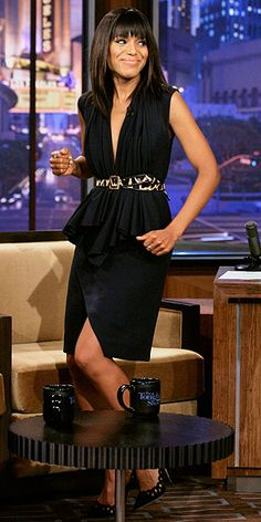 Kerry #Washington- love the #belted #black dress and chic sleek hair