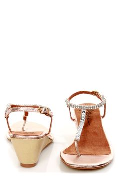 reception. Very Volatile Jive Rose Gold Rhinestone Wedge Thong Sandals - $65.00