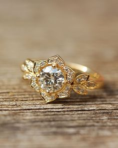 Gold  / Diamonds / Center Moissanite GORGEOUS Unique Lilly Flower Engagement Ring Xo! Silly Shiny