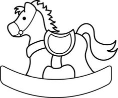 Clip Art Image of a Rocking Horse Coloring Page Clipart Baby, Felt Ornaments Patterns, Felt Patterns, Quilt Baby, Kids Rocking Horse, Dibujos Baby Shower, Horse Template, Horse Coloring Pages, Baby Clip Art