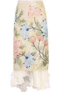 Biyan - Mirea embroidered brocade and silk-organza midi skirt