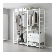 Find side unit combinations for your ELVARLI closet system at IKEA. Wardrobe Storage, Closet Storage, Bedroom Storage, Wardrobe Wall, Wardrobe Ideas, Closet Organization, Ikea Open Wardrobe, Organization Ideas, Small Bedroom Wardrobe