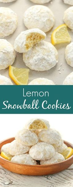Buttery and tender lemon cookies rolled in powdered sugar. These Lemon Snowball … Buttery and tender lemon cookies rolled in powdered sugar. These Lemon Snowball Cookies are so easy to make, incredibly delicious, and they don't require any dough chilling! Lemon Dessert Recipes, Köstliche Desserts, Baking Recipes, Cookie Recipes, Lemon Tea Cookies Recipe, Easy Lemon Desserts, Lemon Cookies Easy, Lemon Sugar Cookies, Amazing Dessert Recipes