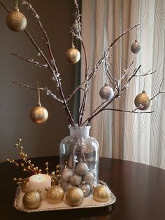 Ultimate bang for your bucks. Idea for beautiful gilded winter arrangement made with supplies from dollar store - and (free) branches from your backyard!