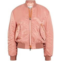Acne Studios Clea shell bomber jacket found on Polyvore featuring outerwear, jackets, tops, acne, acne studios, pastel pink, floral-print bomber jackets, red zipper jacket, red bomber jacket and quilted bomber jackets