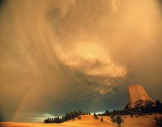 Storm over Devil's Tower national monument, Wyoming.