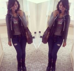 another OOTD from Fall 2013. one of my all time favorites for those days when I don't want to be bothered on the trolley hehe :)  hoodie from Aeropostale // black leather vest from Kohls // jeans from Hollister // combat boots from Kmart