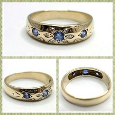 Vintage Sapphires & Diamonds 9K Solid Gold Anniversary Ring, 3 London Blue Sapphires, Flower Ring, Large Size Band