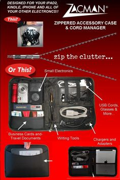 The Zacman Zippered Accessory Case & Cord Manager. Brilliant!  Easy-view pockets hold small electronic devices such as MP3s, digital cameras, cell phones, and laptop cords securely in place. AIRPORT SECURITY FRIENDLY!!! #travel #iPad #iPod