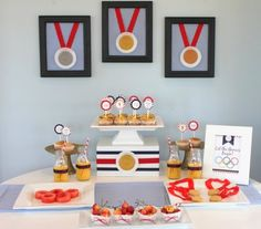 This summer Olympics party earns a gold medal in our book! #Olympics #party #desserttable