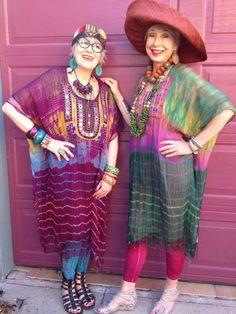 Afghani Shibori tunics ~ model on left is my high school friend, Suzi Click ~ amazing and talented designer!