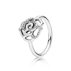 Shimmering Delicate Rose Ring, Clear CZ | Sterling Silver | PANDORA US