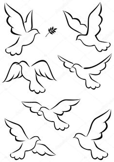 Illustration about Illustration of simple dove symbol. Illustration of leaf, card, animal - 21762505 Bird Drawings, Easy Drawings, Dove Drawing, Peace Drawing, Drawing Art, Bird Art, Pencil Art, Rock Art, Painted Rocks