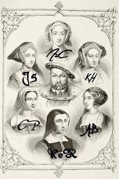 Henry VIII surrounded by his six wives.  Katherine of Aragon 1485-1536, Queen: 1509-1533  Anne Boleyn 1501/07-1536, Queen: 1533-1536  Jane Seymour 1505/9-1537, Queen: 1536-1537  Anne of Cleves 1515- 1557, Queen: 1540 Jan-Jul  Kathryn Howard 1521-1542, Queen: 1540-1542  Catherine Parr 1512-1548, Queen: 1543-1547